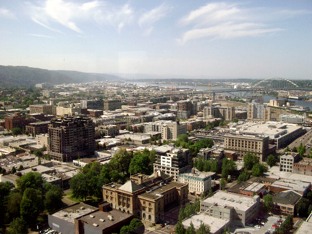 Photo of the North Park Blocks from the US Bancorp Tower.