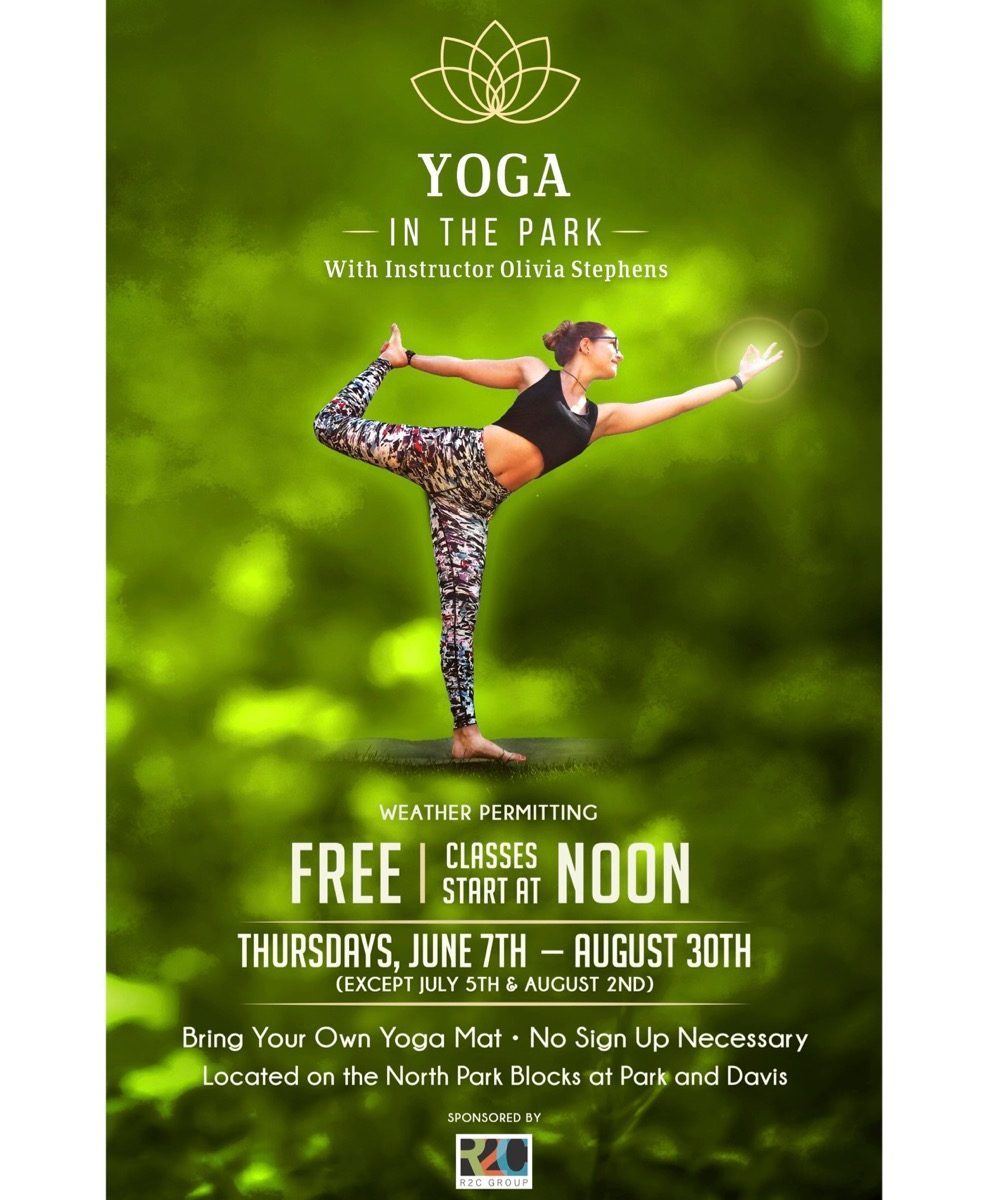 Free yoga in the North Park Blocks Summer 2018