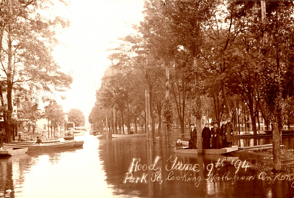 Park St., looking north from Ankeny, in Portland's North Park Blocks during flood, June 9 1894.