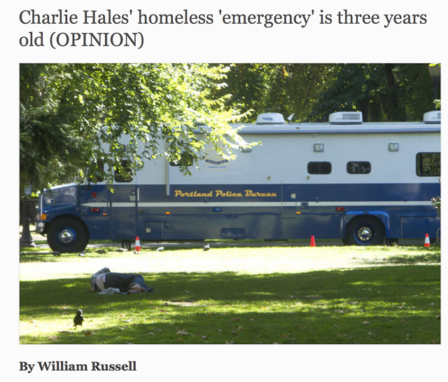 Charlie Hales' homeless 'emergency' is three years old