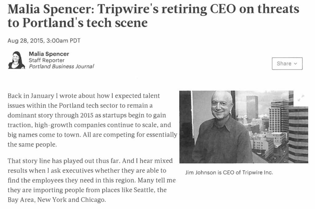 Jim Johnson is CEO of Tripwire Inc