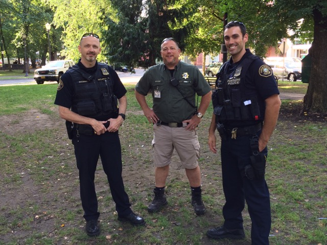 Officer Dave McCormick (L) Park Ranger Sam Sachs and Officer Nick Newby