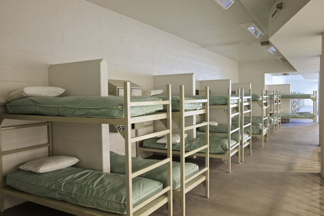 Unused bunks at Wapato [Thomas Boyd/The Oregonian]